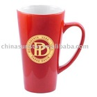 16 oz Tall Cafe Mugs in Red and White