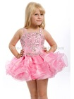 Perfect Pink Beaded Straps and Bodice Layered Ruffled Short Skirt Pageant Dress for Little Girls