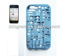 3D Hollow Weave Plastic Case for iPhone 4 & 4S (Baby Blue)