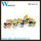 Mobile Phone Accessories with fashion rhinestone Diamond Alloy Metal crystal decoration 3.5mm earplug dust plug