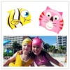 Lovely animal print silicone swimming cap