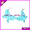 fashion butterfly shaped blue colour alloy earrings