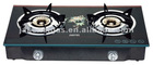 Glass Top Double Burner gas stove, gas cooker