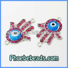Newest Connectors Beads Hamsa Hand of Fatima With Evil Eye Charms Pave Crystal Metal Alloy For Bracelets MHB-013A