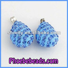 Wholesale Light Blue Crystal Rhinestone Water Drop Beads Necklace Findings Teardrop Charms High Quality CNP-Z09