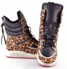 ladies fashion leopard back zipper flat ankle boots casual shoes high tops