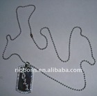 acrylic bling silver dog tag with ball chain 30 inch