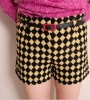 ej2442 Wholesale Classic High Waist Women Fashion Rhombic Woolen Shorts With Belt