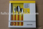 24pcs Hot-sale stainless steel flatware set with plastic handle