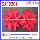 "red 4"" Ribbon Flower Hair Clip with Zig-Zag Edge"
