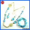 2012 newest design glass beaded style matching necklace,earring,bracelet,murano glass jewelry set