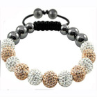 12PCS Hot Sparking 10mm Mixed Loose Crystal Ball Shamballa Bracelet With Onyx
