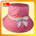 white spotted print on red cotton fabric fashion bush hat with band and rhinestone bow trim