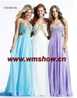2011 Latest Designed Beaded Sweetheart Elegant Chiffon Evening Dresses Long