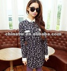 zc09087 Korean Style Fashion Cute Cat Print Latest Dress Designs