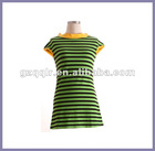 2012 stripes round neck summer lady cotton t shirt