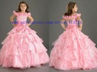 2012 New Fashion Off-Shoulder Pink Handmade Rose Sequin Organza girls puffy dresses