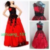 Ball Gown One Shoulder Appliqued Red Quinceanera Dress
