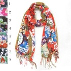 colorful flowers print cotton tribal scarves with fringes