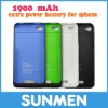 1900mAh Portable Exernal battery charger for iPhone 4/4s