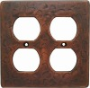 copper double outlet switch plate