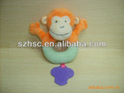 plush monkey with plastic teether