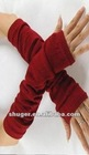 stylish Half Finger Pleated Cotton Gloves Wine Red G10082103-5