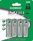 NiMH AA rechargeable batteries 2700mAh 1.2v