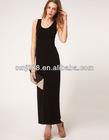 America Europe pop sleeveless round collar long tall waist cultivate skirt