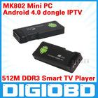 Android 4.0 Mini PC IPTV Google Internet TV BOX Smart Android Box DDR3 512MB RAM 4GB ROM Allwinner A10 MK802