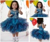 Blue Embroidered Beaded Strap Girls Party Dresses