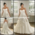 Al-w3839 Unique Ivory Sweetheart Pleated Satin Plus Size Wedding Gown