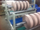 Jumbo paper roll slitting and rewinding machine for paper mill