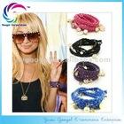 Popular multi strand velvet rope bracelet with different charms HOT!!