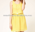 light fabric mini skirt for ladies/yellow dress for young girls