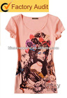 new popular cotton printed T-SHIRT for lady
