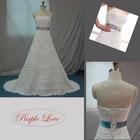 A-line Strapless Beaed Chiffon Wedding Dress HT-0881