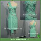 2011 popular one-shoulder chiffon beaded sheath party dress