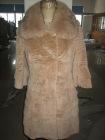 sheared rabbit coat with fox collar