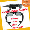 Free Shipping 4GB sunglasses with 4 IN Camera +video +MP3+Bluetooth Sunglass