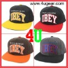 100% cotton two tone cotton obey snapback flat brim hats, embroidered cap