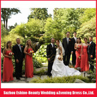 Real customer feedback taffeta strapless bridal wedding dress red chiffion bridesmaid dress