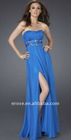 PD-C032 Wholesale Sexy Split Front Strapless Long Chiffon Prom Dresses 2012 With Beaded Sash