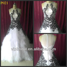 Unique design organza long train black and white wedding dress 2013