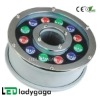 2012 DC24V stainless steel led waterproof public square water light colorfull 12X1W OD180mm 1100Im