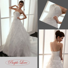 New Style Best Selling Original Design Strapless Several Layered Organza Beaded Wedding Gown