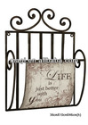 Vintage Hanging Metal Storage Rack with Letters