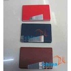 Leather Business Name Credit ID Card Case Holder With Aluminum Patch