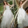 Refinement Zipper Sweetheart Ball Gown Sweep Train Tiered Wedding Dress Bridal Gown
