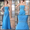 Best Price A-line Strapless Beading Long Chiffon Evening Dresses For Woman